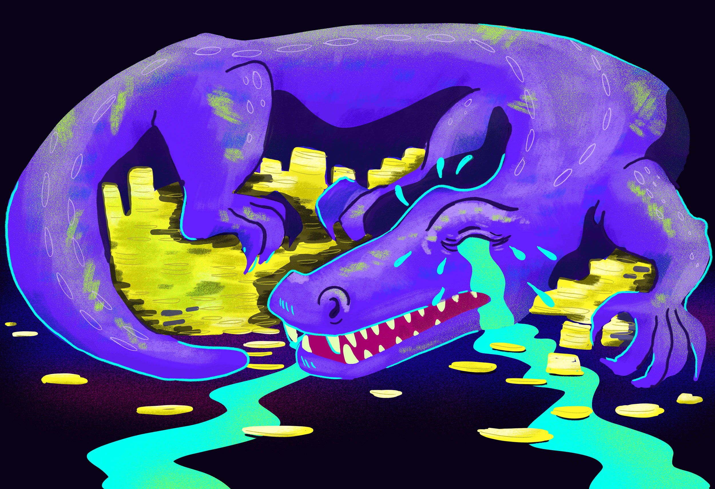 crocodile crying over a pile of gold