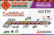 Da a conocer Ayuntamiento de Tuxtla vía de circulación por segunda etapa de remodelación del bulevar Belisario Domínguez