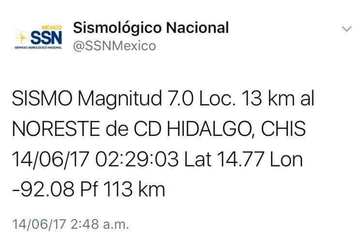Sin reporte de personas fallecidas por sismo en Chiapas