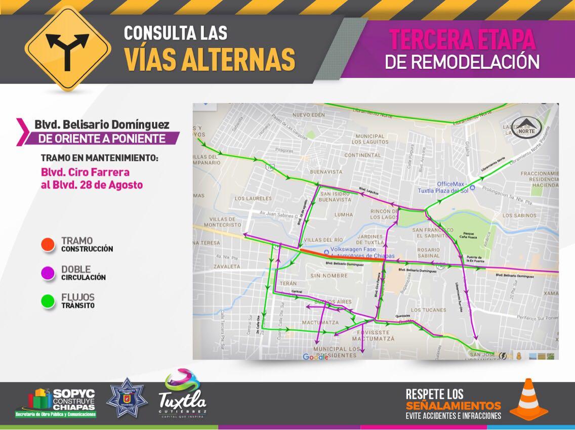 Cierre de vialidad en tercera etapa de remodelación del bulevar Belisario Domínguez