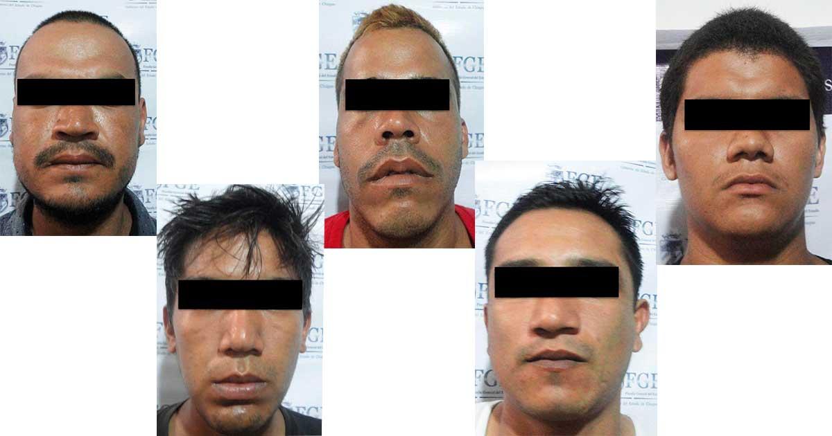 """Asegura FGE a cinco integrantes del grupo delictivo """"MS 13"""" en Tapachula"""