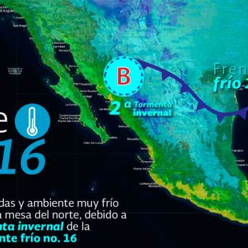Se prevén nevadas en sierras de Chihuahua, Coahuila, Nuevo León, Durango, Zacatecas y Sinaloa