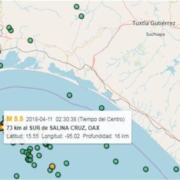 Sin afectaciones en Chiapas por sismo magnitud 5.5