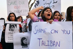Pakistani civil society activists protest the assassination attempt on Malala Yousafzai, in Islamabad on Oct. 10, 2012. (AFP/GETTY IMAGES)