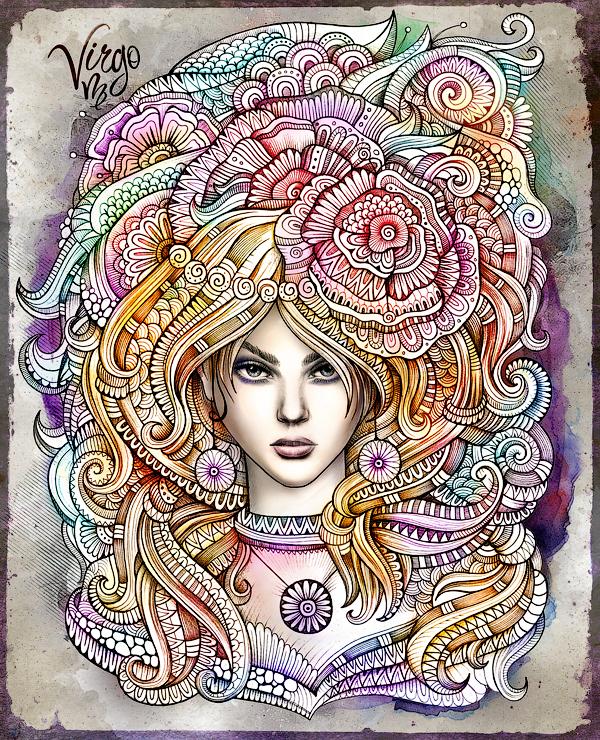 """Zodiac illustration """"VIRGO"""" by balabolka, via Behance"""