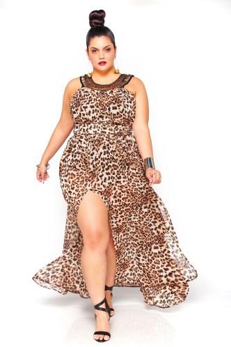 JIBRI Leopard Beaded Neck Sheer Poolside Dress