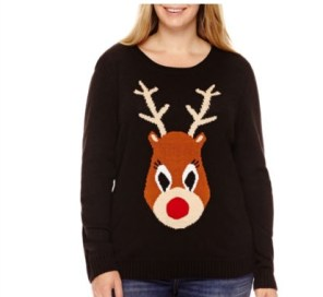 By Design Long-Sleeve Red Nose Reindeer Christmas Sweater