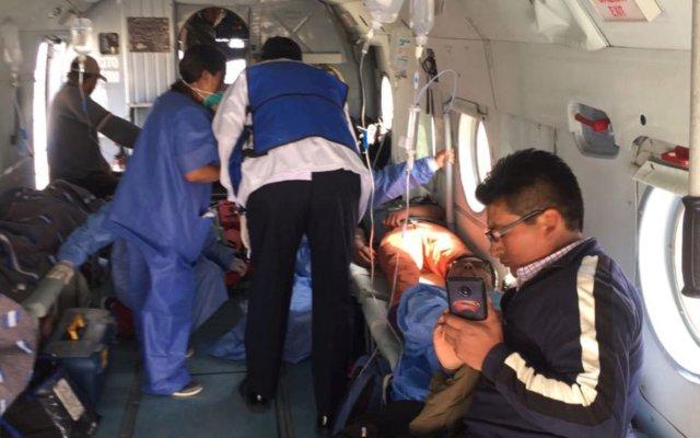 Las personas intoxicadas fueron trasladados en aero ambulancias hasta hospitales peruanos.