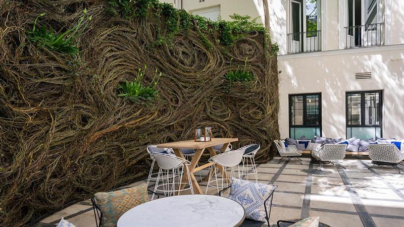 Hermoso jardín vertical para disfrutar un delicioso cóctel