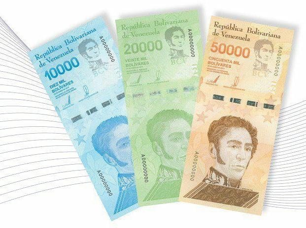 Imagen de los nuevos tres billetes del cono monetario anunciado por el Banco Central de Venezuela (BCV) y que entrara en circulación de manera paulatina a partir de este 13 de junio.