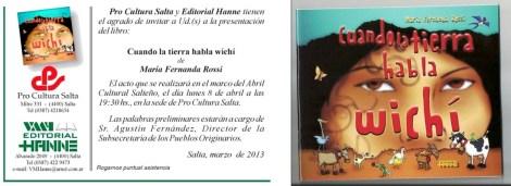 """Invitación a la presentación de """"Cuando la Tierra habla wichí"""", de Fernanda Rossi."""