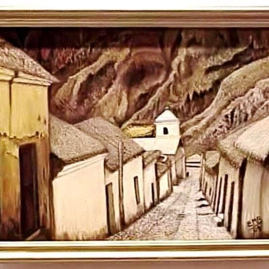Una calle de Iruya. Pintura de Lisy Moine de Bravo