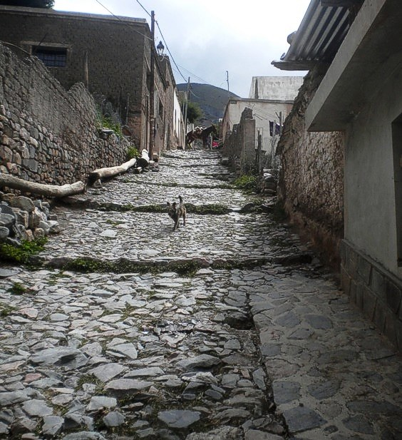 Una calle de Iruya, que mira hacia el oeste; empedrado suelo empinado.
