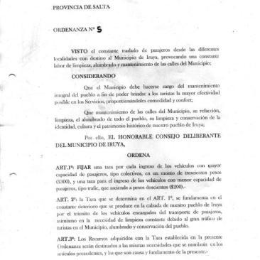 Ordenanza No. 5/20156