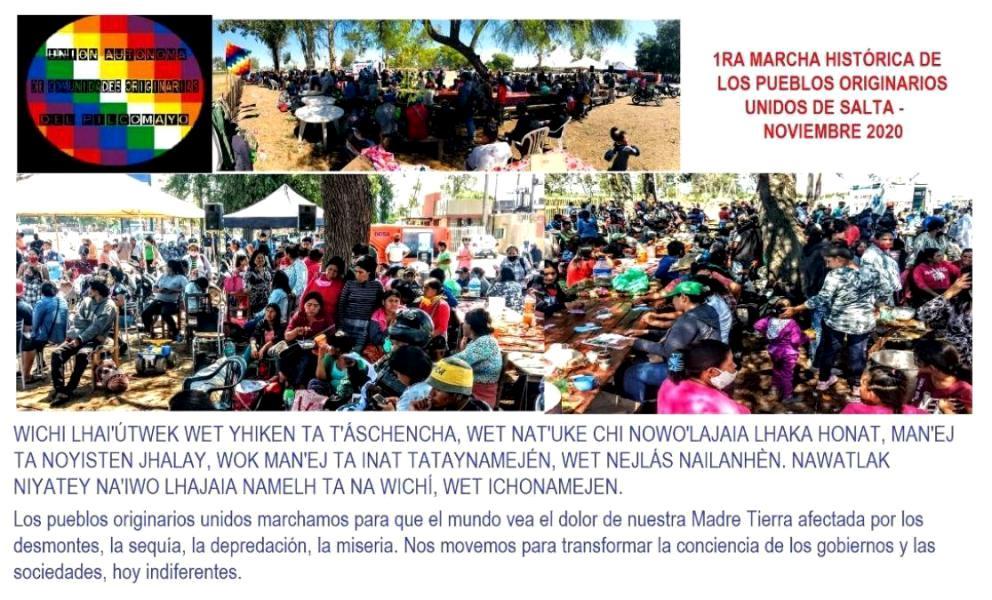 Imágenes de la marcha de pueblos originarios.