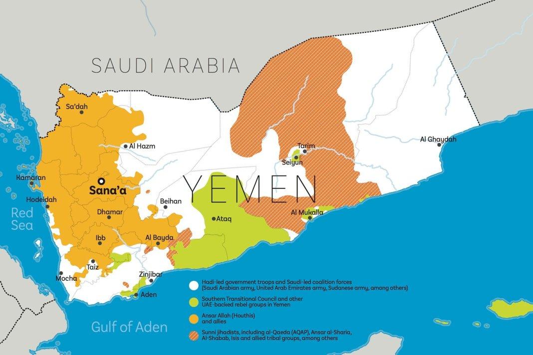 Mappa del conflitto in Yemen
