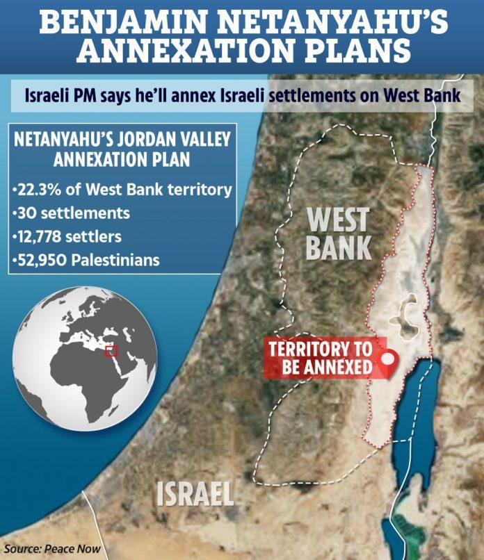 Netanyhau annetterà a Israele parti della Cisgiordania il prossimo luglio