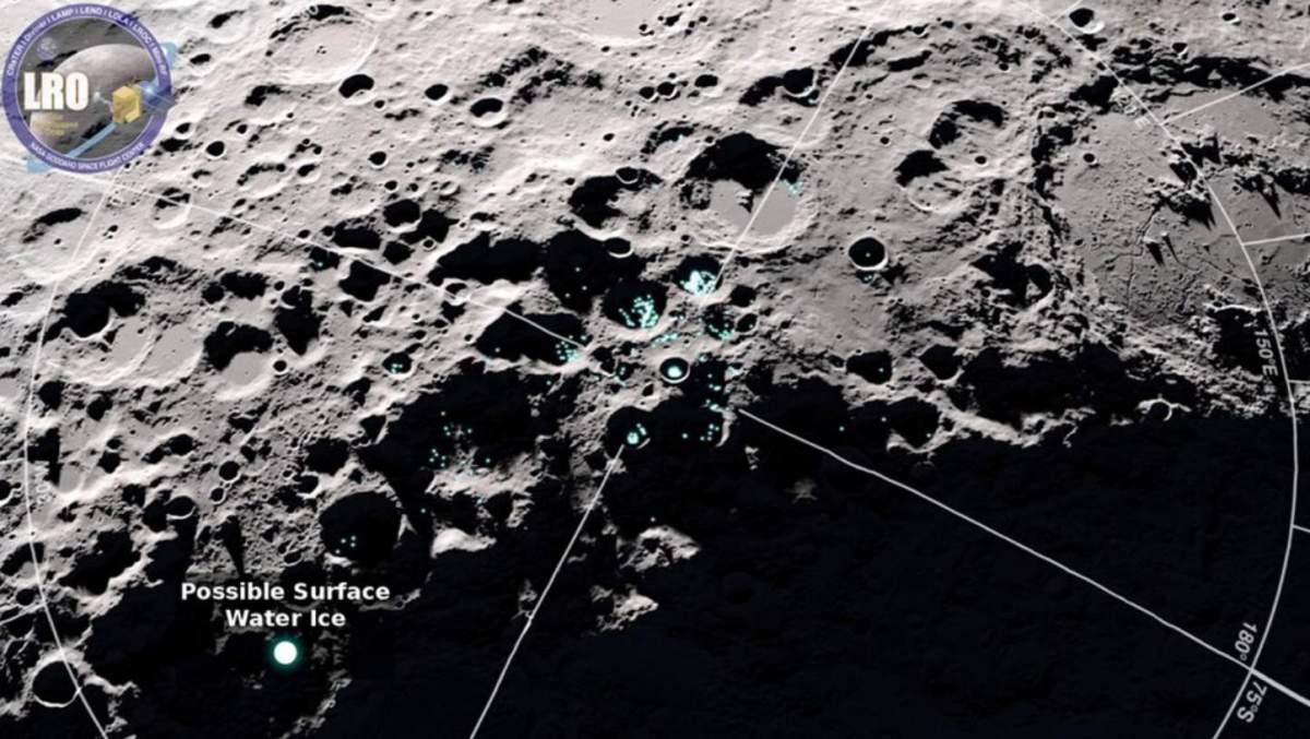 Molecole d'acqua che si muovono sulla superficie lunare individuate dal Lunar Reconnaissance Orbiter