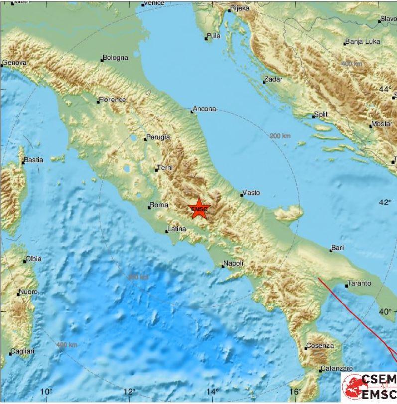 Scossa in provincia de L'Aquila: avvertita anche a Roma e Napoli