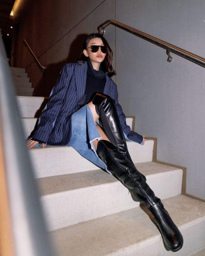Jessica Wang wearing fall and winter coats featuring a pinstripe coat // Jessica Wang - Notjessfashion.com