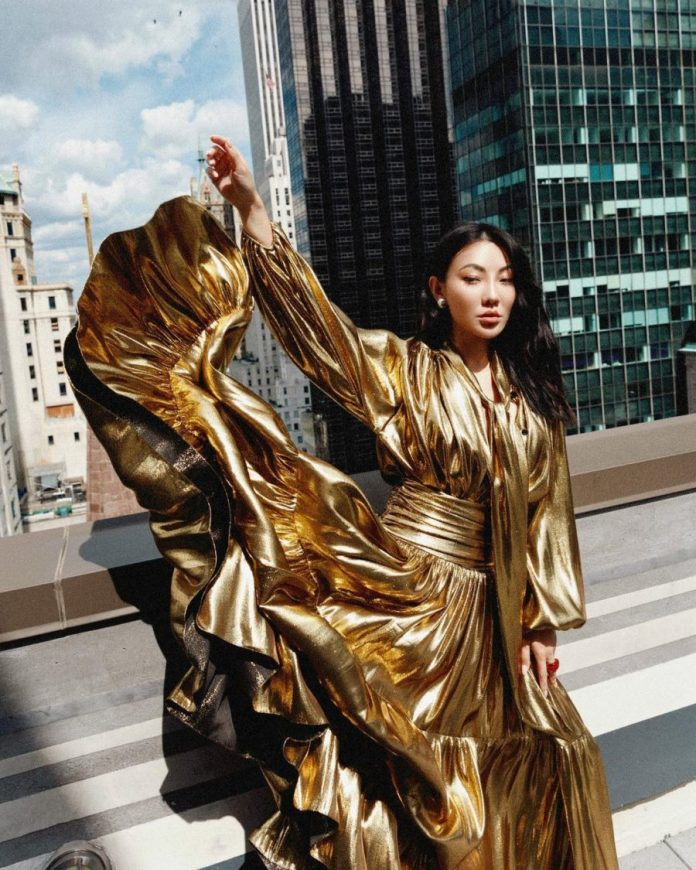 jessica wang wearing spring trends from nyfw featuring a metallic gold dress // Jessica Wang - Notjessfashion.com