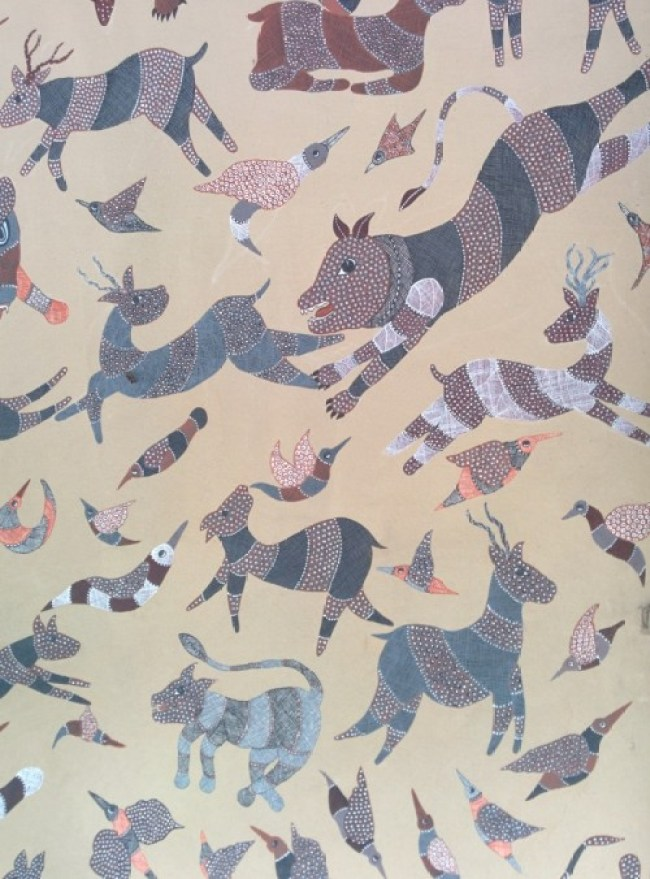 Gond painting at the craft museum delhi