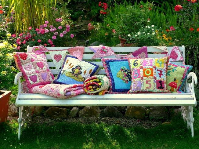 Colours, Cushions and Throws - all quilted by artisans at Stree Shakti via