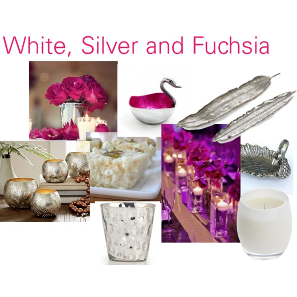 White, Silver and Fuchsia with Kalakand