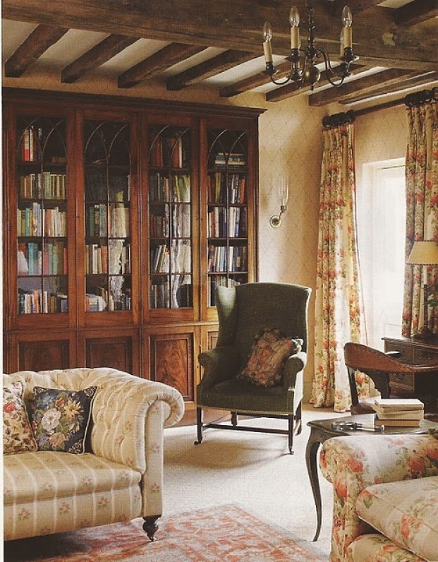 An English home: You will find lots of books, a comfy chair to help in the reading process...via