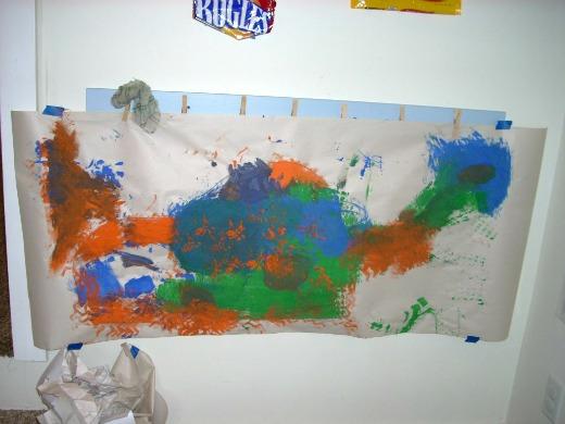 dino mural in process