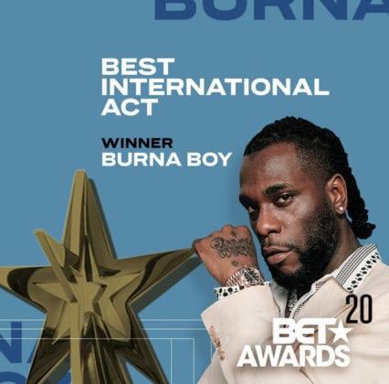 Burna Boy BET Awards Best International Act