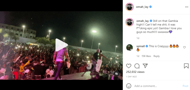 """Omah Lay On Stage in Gambia was """"Epic"""" 