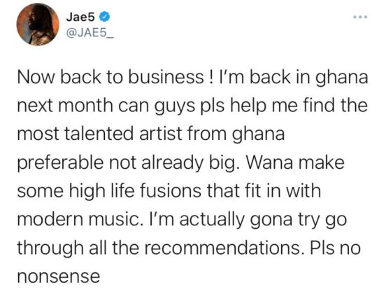 Jae5 Wants to Work With Ghanaian Artists Next   NotjustOK