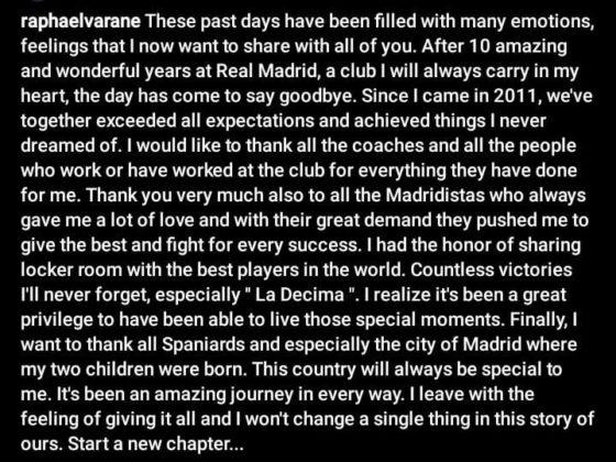 Varane's Instagram Post