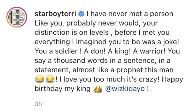 Read Terri Birthday Message to Wizkid