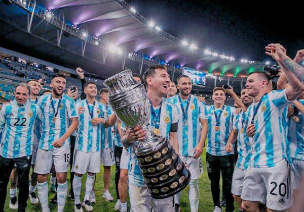 Lionel Messi and teammates celebrating Copa America victory