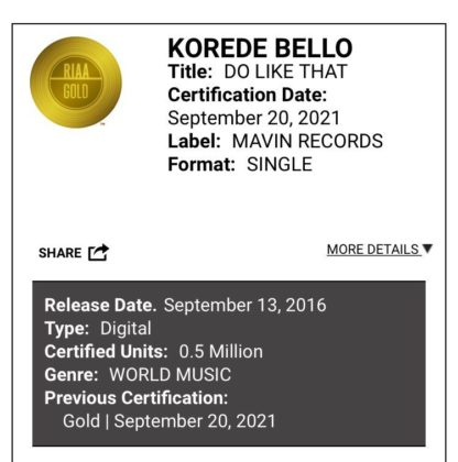 Korede Bello Do like That Certified Gold