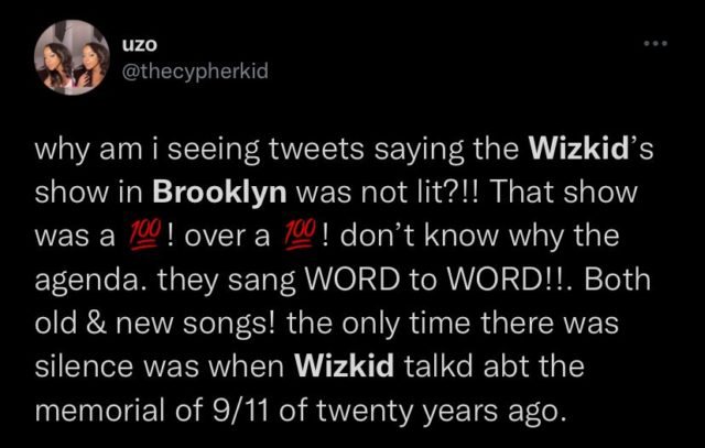 MIL Tour: See Top Reactions to Wizkid Brooklyn Performance NotjustOK