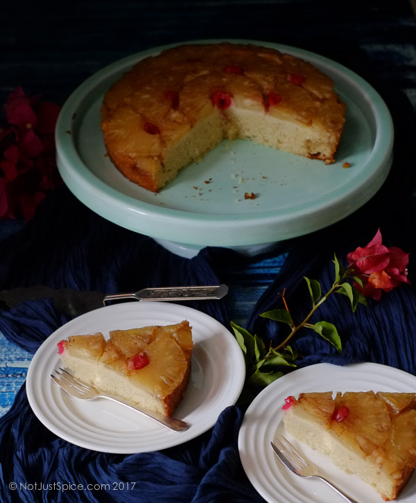 Coconut Pineapple Upside Down Cake on notjustspice.com