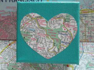 Neighborhood Love on teal 4x4