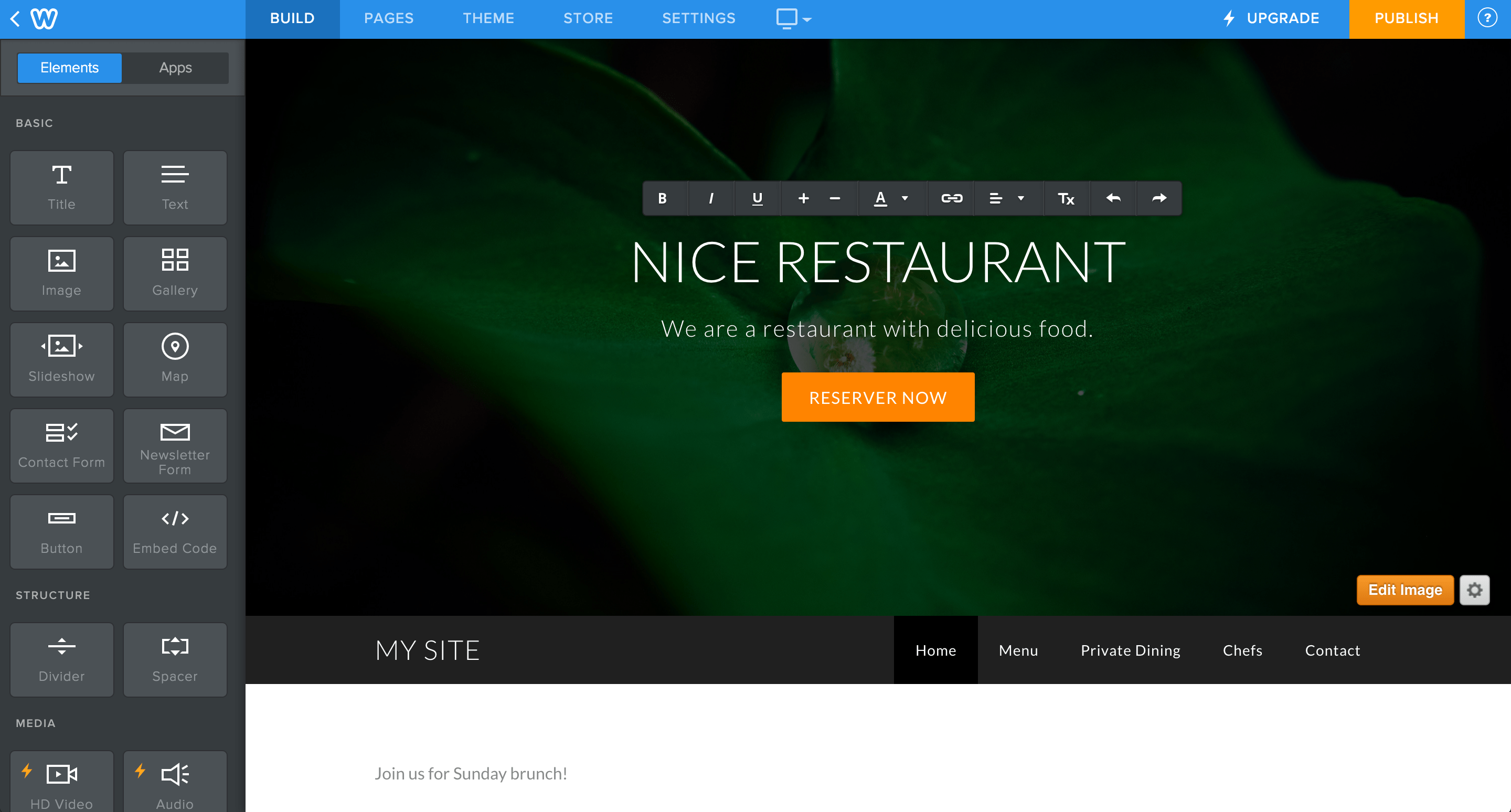 Weebly and Squarespace provide a similar editing experience.