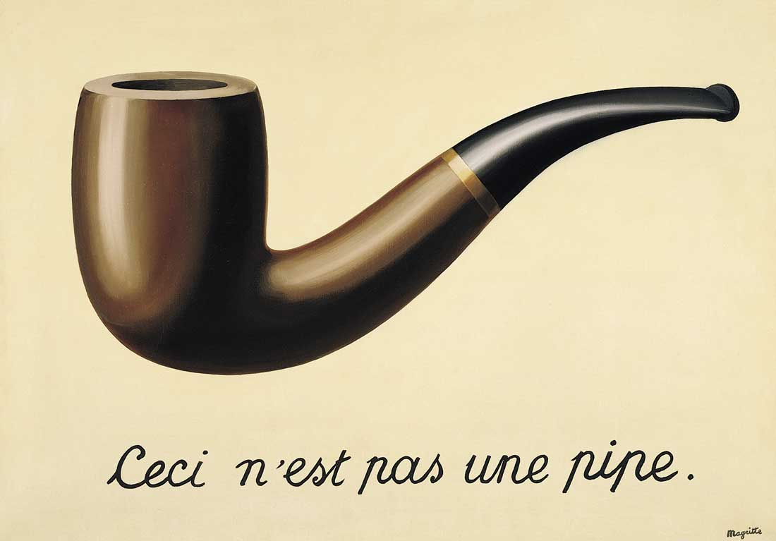 "Famous painting of a pipe with the text ""this is not a pipe"" below it"