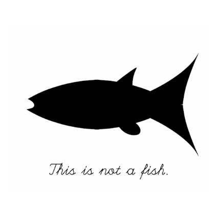 Black and white image of a fish with text 'this is not a fish'