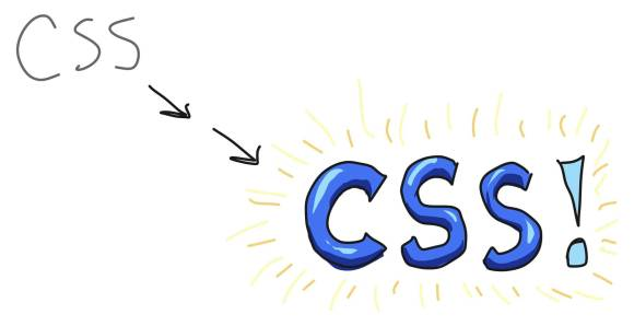 A simple, grey written representation morphing into an exciting, blue, emphasized written CSS