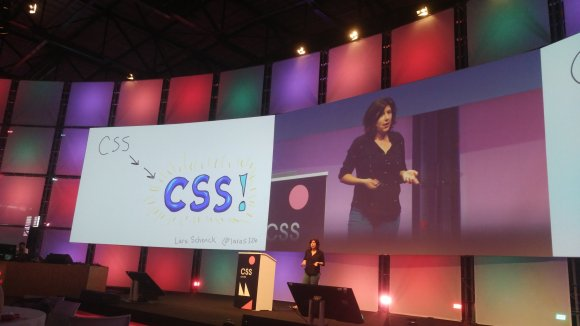 Lara speaking at a big conference about CSS!