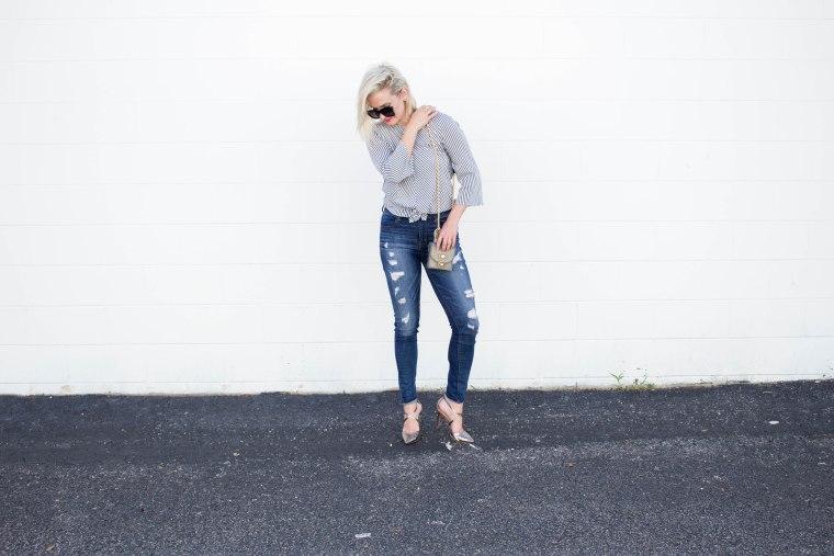 Grey_Knot_Top_Denim_Ripped_Jeans_Metallic_Heels