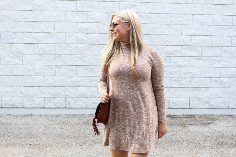Jocelyn from Not Necessarily Blonde wearing a forever21 tan swing dress