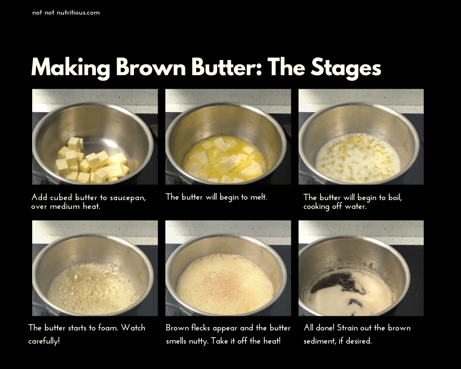 6 images showing the various stages of cooking brown butter in a saucepan. From cubed butter, to melted butter, to butter boiling, then beginning to foam, foaming with brown flecks and then done.