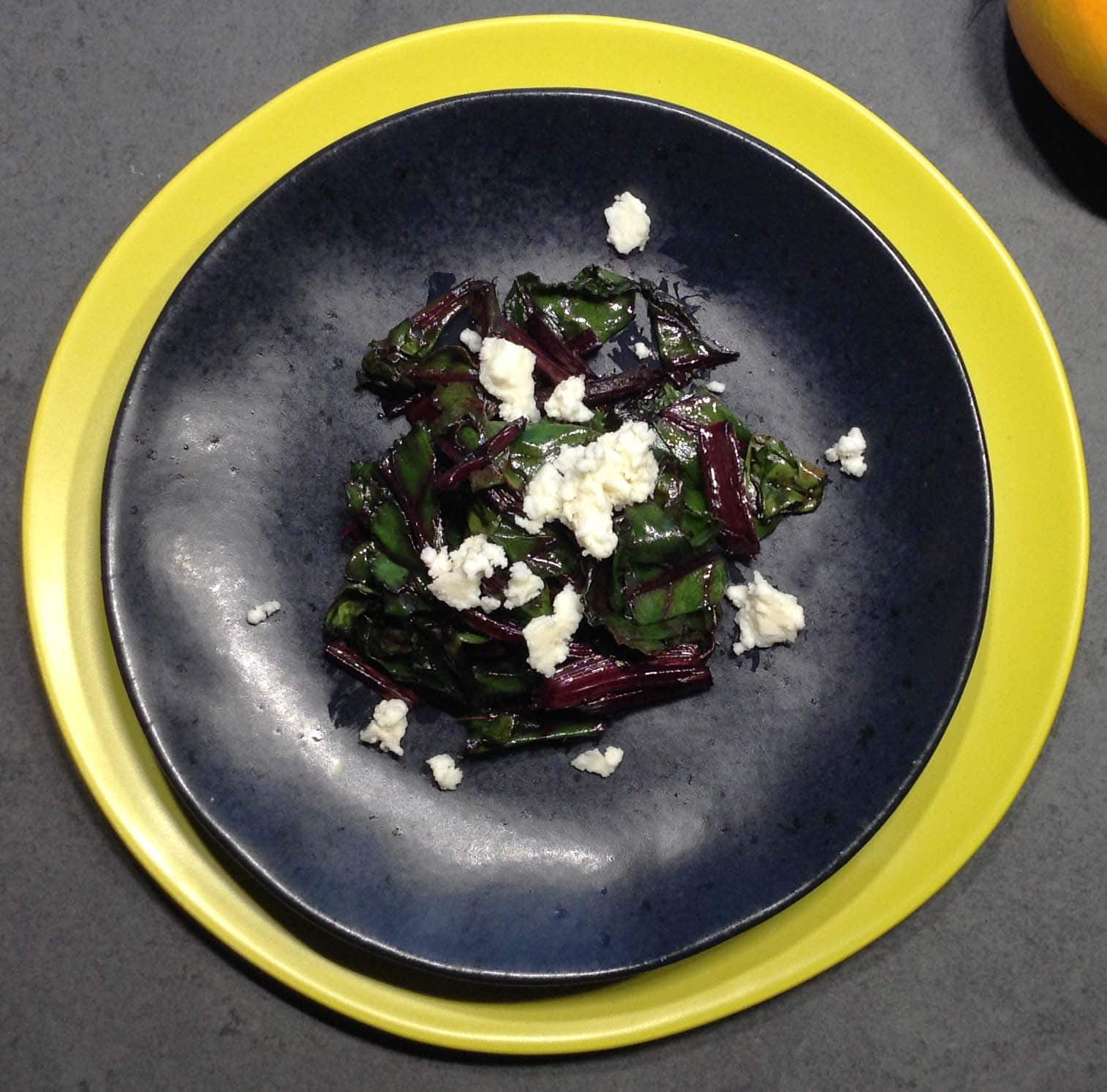 Fried Beet Top Salad with Honey Lemon Queso Freso Dressing