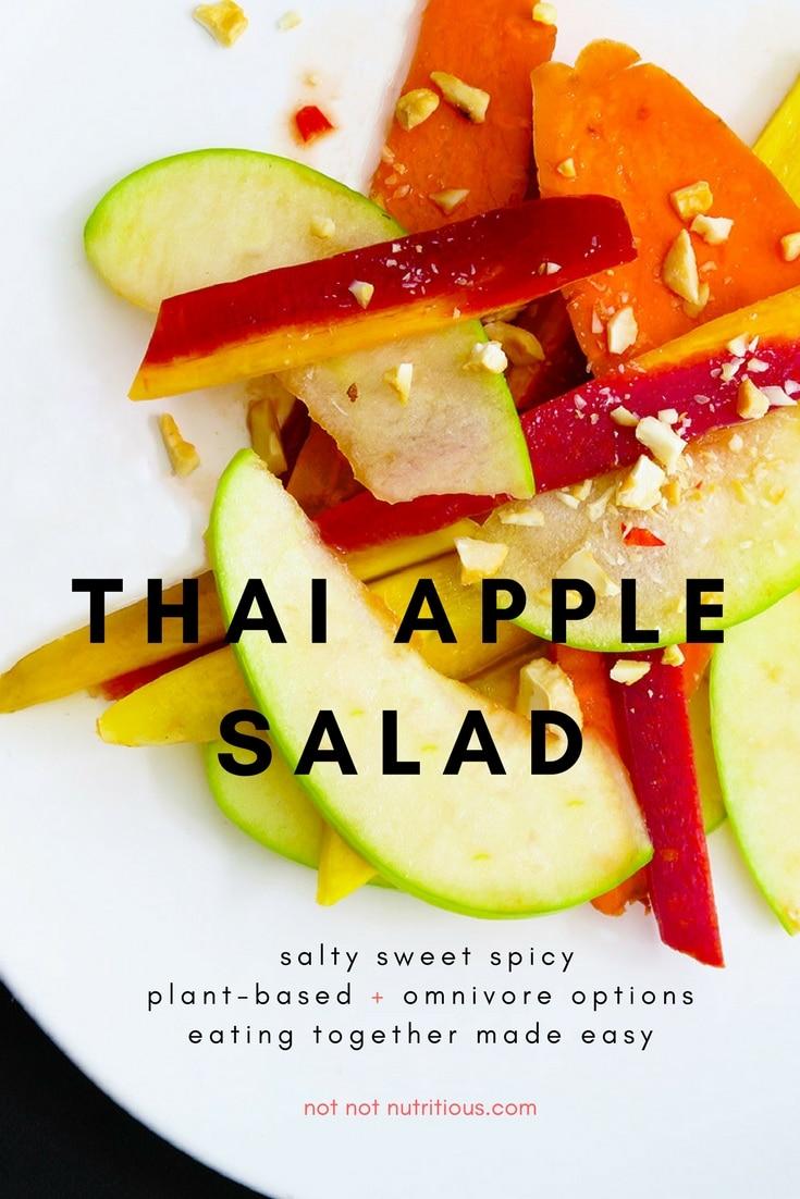Thai apple salad on a white plate